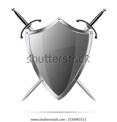 Metallic glittering shield and two swords isolatedon white background - stock vector