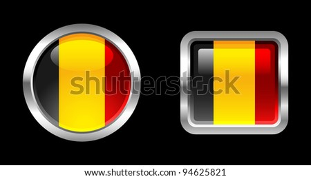 Metallic Glossy Flag series - Belgium - stock vector