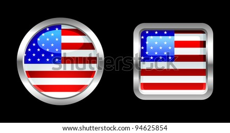 Metallic Glossy Flag series - USA - stock vector
