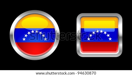 Metallic Glossy Flag series -  Venezuela - stock vector