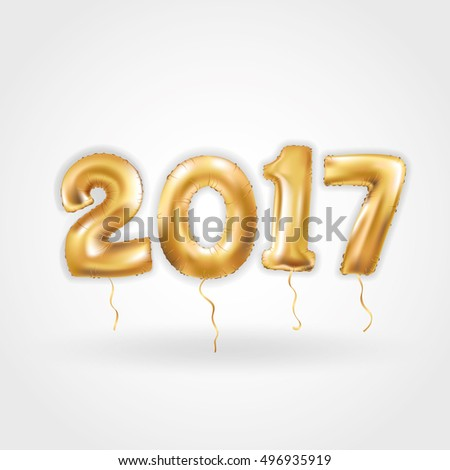 Metallic Gold Letter Balloons, 2017 Happy new year, Gold Number Balloons, Alphabet Letter Balloons, Number Balloons, Air Filled Balloon