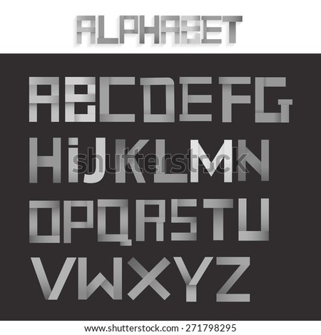 Metallic grey ribbon alphabet set. Creative concept. Vector illustration. - stock vector