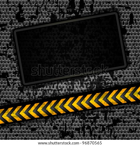 Metallic grunge background template, perforated iron sheet. Vector 10 eps - stock vector