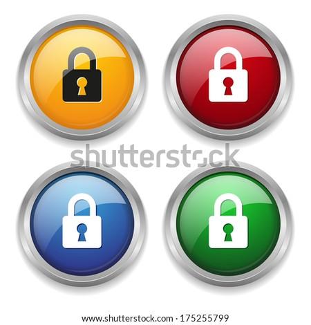 Metallic lock button in four colors - stock vector