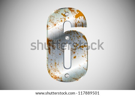 Metallic number 6 with rivets and screws - stock vector