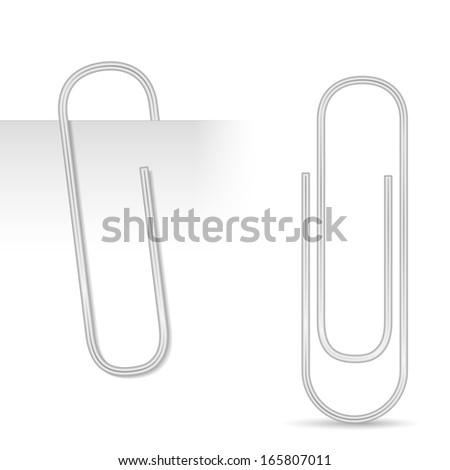 Metallic paper clip, vector eps10 illustration - stock vector