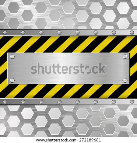 metallic plaque on warning background - stock vector