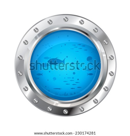 Metallic porthole with underwater life, deep water adventure, isolated