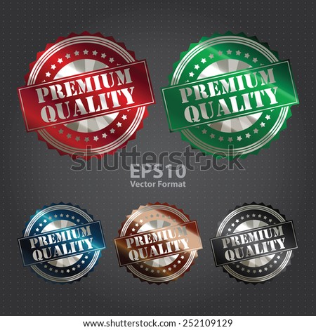 metallic premium quality sticker, badge, icon, stamp, label, vector format - stock vector