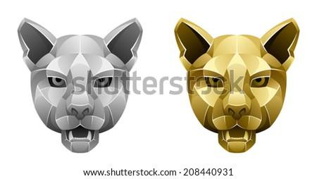 Metallic puma head - stock vector
