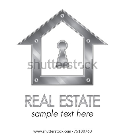 Metallic real estate identity company design elements vector illustration - stock vector