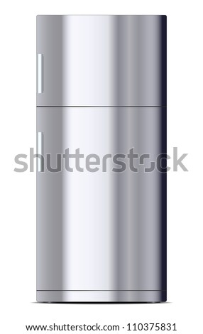 Metallic refrigerator - stock vector