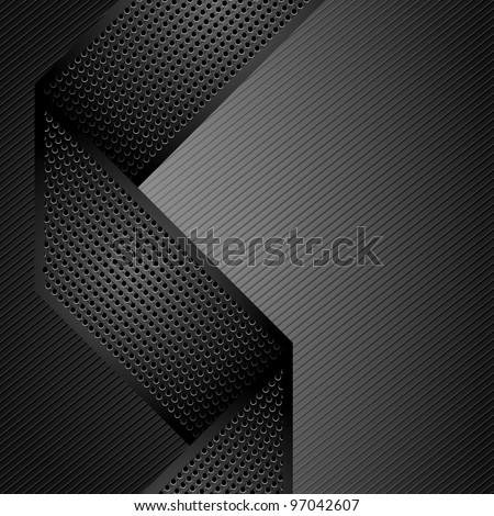 Metallic ribbons on gray corduroy background. Vector 10eps - stock vector