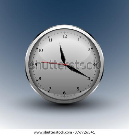metallic round analog clocks - stock vector
