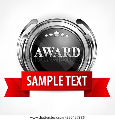 Metallic round award symbol with red ribbon, vector illustration - stock vector