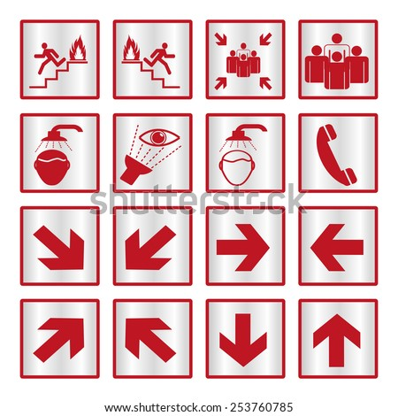 Metallic safety sign set - stock vector