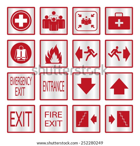 Metallic safety sign. Vector illustration emergency exit signs set - stock vector