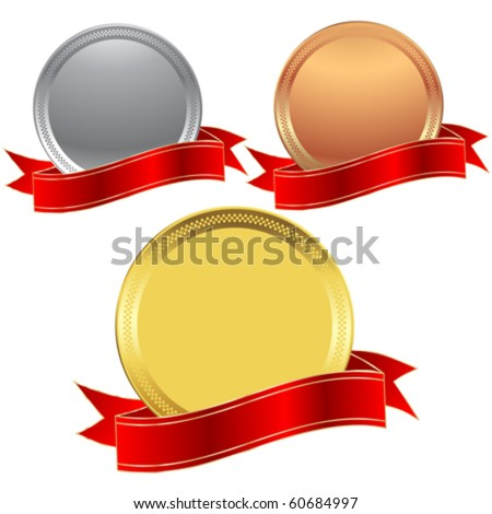 metallic seals with a red ribbon - stock vector