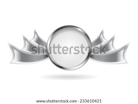 Metallic silver logo element. Vector background - stock vector