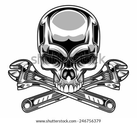 metallic skull - stock vector