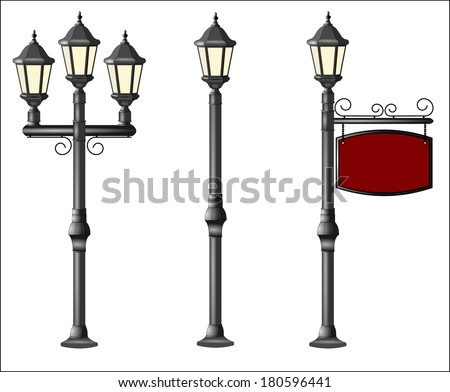 Metallic street lamppost with wooden board. your text here place. Isolated on white background. Vector 3d illustration of retro and modern street lanterns and lampposts. vector object art image eps10 - stock vector