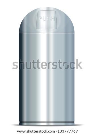 Metallic trash bin icon - stock vector