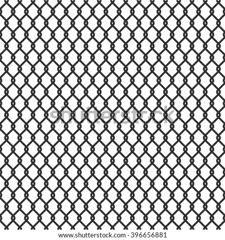 Metallic wired Fence seamless pattern isolated on white background. Steel Wire Mesh. Vector Illustration - stock vector