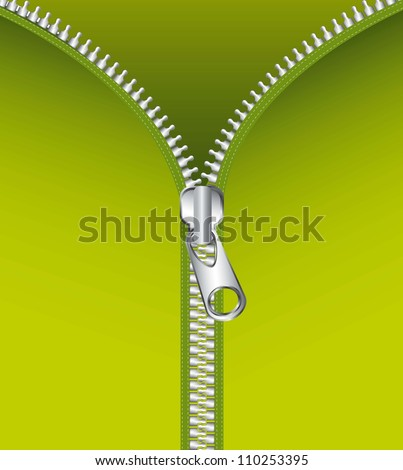 metallic zipper over green background. vector illustration - stock vector