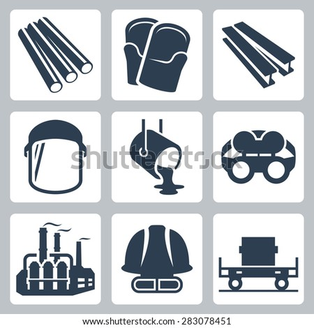 Metallurgy related vector icon set - stock vector