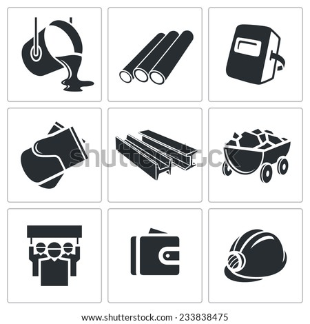 Metallurgy Vector Isolated Flat Icons Set - stock vector