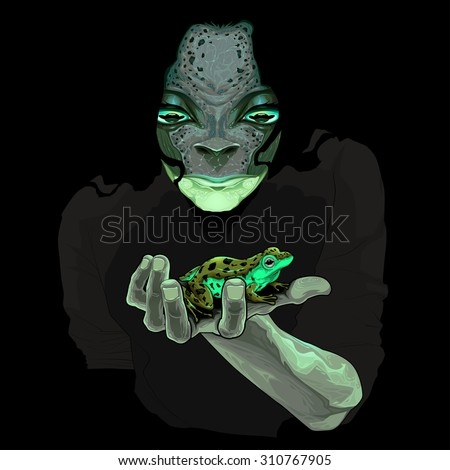 Metamorphosis, monster guy with a frog. Vector illustration - stock vector