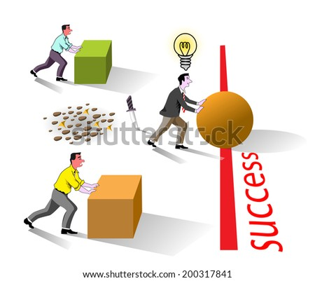 metaphor of business brain work for success best idea, well creative bright concept competition work - stock vector