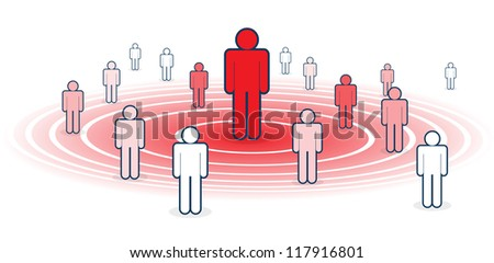 Metaphoral vector illustration of influence, with several figure influenced by red figure. - stock vector