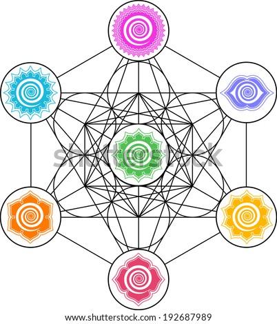 Metatrons Cube, 7 Chakras - Cosmic Energy Centers - stock vector