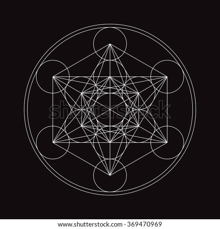 Metatrons Cube - Flower of life. - stock vector