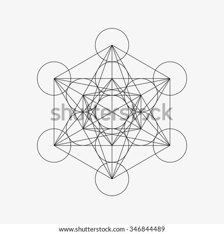 Metatrons Cube - Flower of Life. Vector Illustration. - stock vector