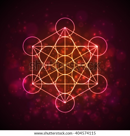 Metatrons Cube - Flower of Life. Vector illustration - stock vector