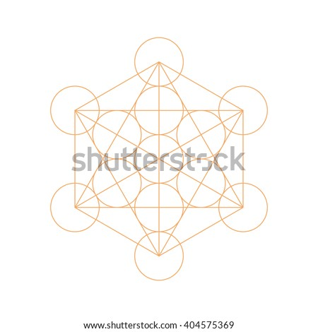 Metatrons Cube - Flower of Life. Vector illustration. - stock vector