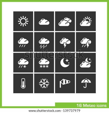 Meteo icon set. Vector white pictograms for web, computer and mobile apps, internet, interface design: weather cast, sun, cloud, rain, snow, moon, night, thermometer, snowflake, wind, umbrella symbol - stock vector