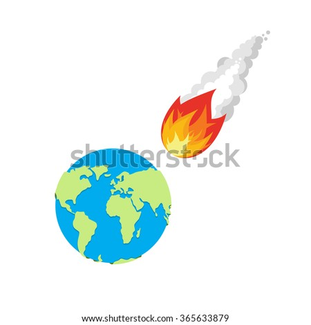 Meteor and Earth. Fireball flies on planet Earth. Approaching catastrophe. Fiery Comet and planet. Coming end of the world. Danger for  Earth - stock vector