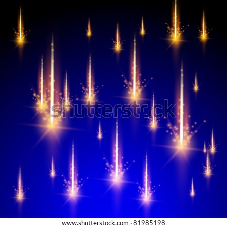 Meteor rain. Vector illustration. Eps 10 - stock vector