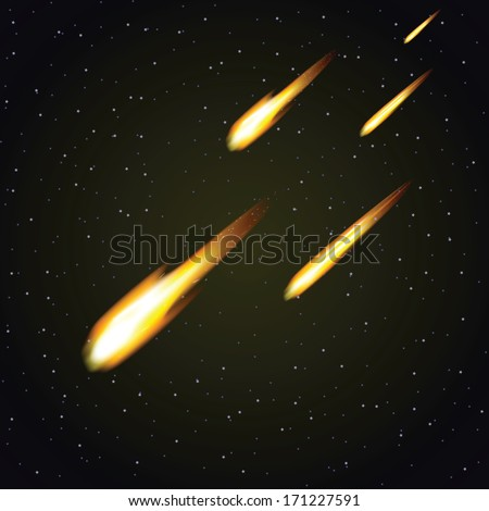 Meteor shower and dark space in background (vector illustration) - stock vector