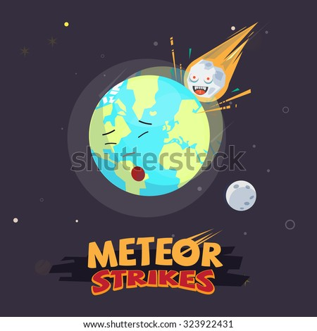 meteor strike the earth. end of the world.  Meteor impact concept. typographic design for header - vector illustration - stock vector