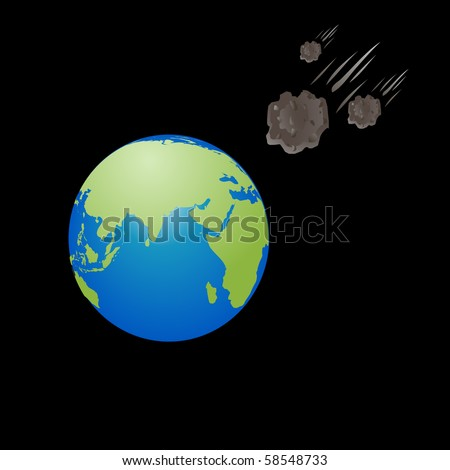 Meteorite shower hitting the Earth sign, symbol on black vector - stock vector