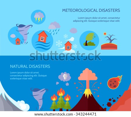 Meteorological natural disasters 2 banners composition poster with forest fire and tsunami information abstract isolated vector illustration - stock vector