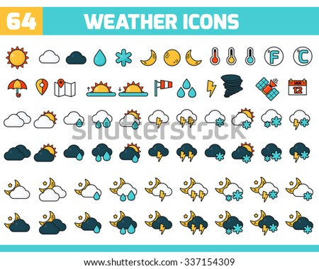Meteorology Icons Set. Collection of vector weather icons for your design. Vector Illustration. Weather Forecasting Vector Icon Set. 64 color weather icons with sun, moon, clouds and other - stock vector