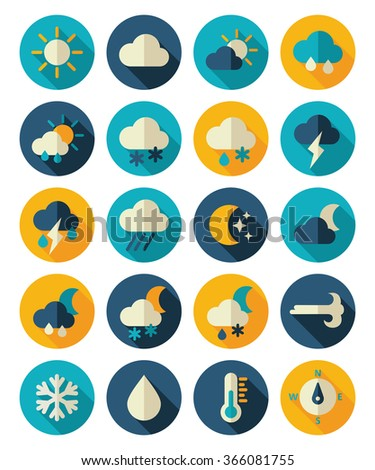 Meteorology Weather flat icons set, vector illustration eps 10 - stock vector