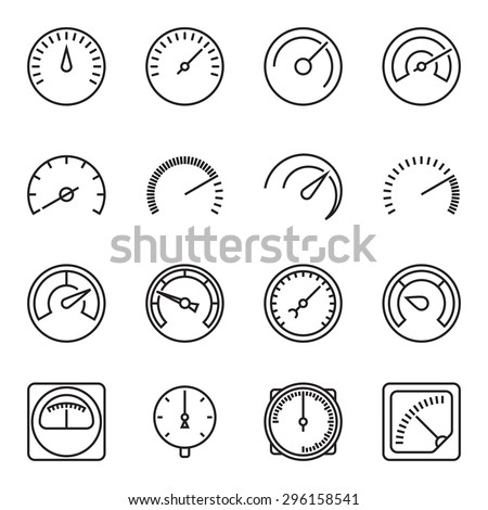 Meter icons. Symbols of speedometers, manometers, tachometers etc. Linear vector illustration - stock vector