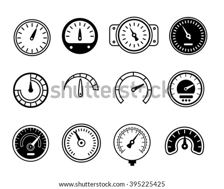 Meter icons. Symbols of speedometers, manometers, tachometers etc. vector illustration - stock vector