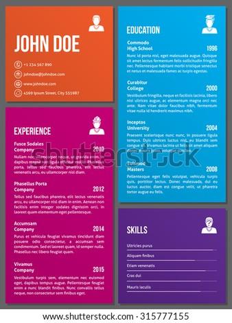 Metro design curriculum vitae cv resume template - stock vector